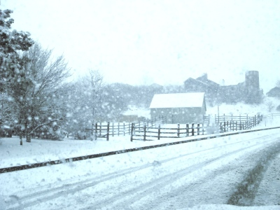 snowy old farm