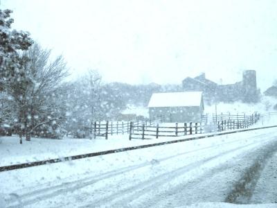 snowy old farm